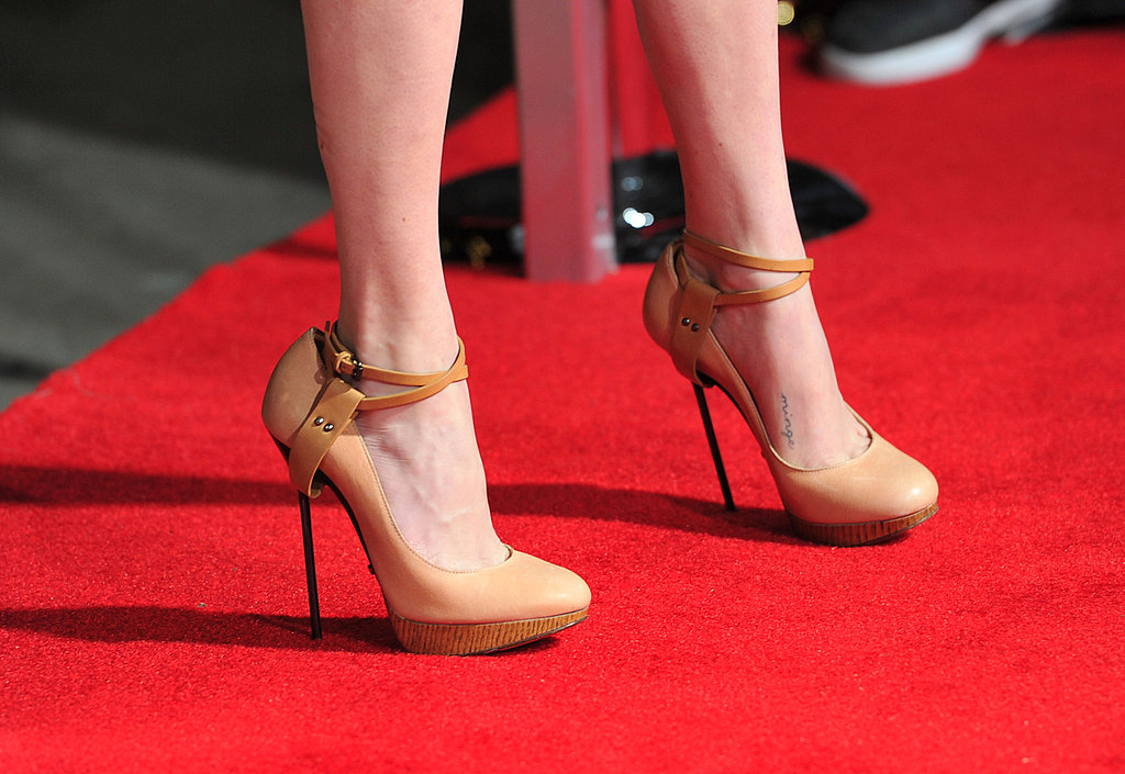 A glimpse of the hot heels — pencil-thin stilettos and strappy details make these some seriously fierce footwear.