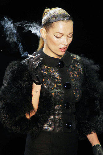 "Watch Kate Moss Smoke on the ""Fashion and Fetish""-Inspired Fall 2011 Louis Vuitton Runway"