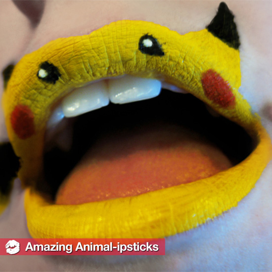 Amazing Pikachu, Fox, and Jaguar Lipstick Art by Artist Paige Thompson