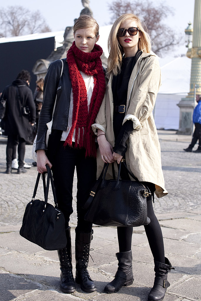 Two perfectly styled street ensembles — we love the pop of red and the classic trench.