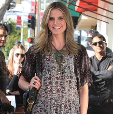 Pictures of Heidi Klum Filming on Robertson in LA