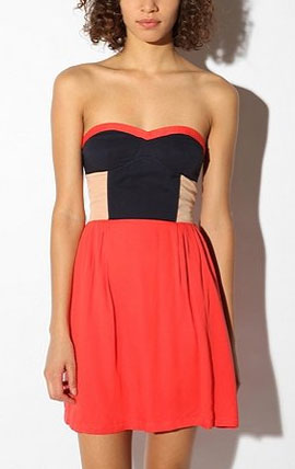 This dress does the colorblocking trend work for you, and we love the flattering fit.  Sparkle & Fade Colorblock Strapless Dress ($59)