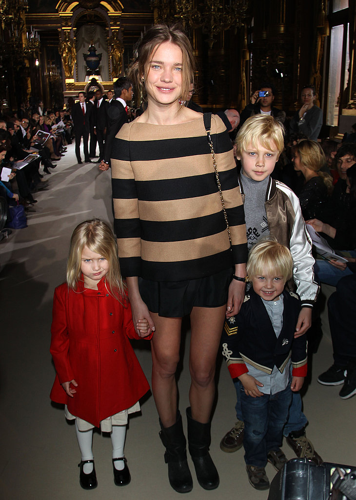 Quite possibly the chicest mom on the planet — Natalia Vodianova hangs with her kids between shows at PFW.