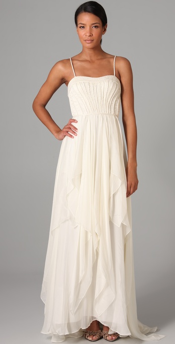 We love the feel of this classic gown, with flowy layers and a detailed bodice that's not overworked.  Catherine Deane Justine Long Dress ($1,310)