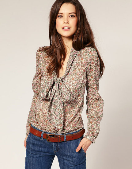 '70s chic you can take to the office — and we will! Mango Ditsy Pussy Bow Shirt ($72)