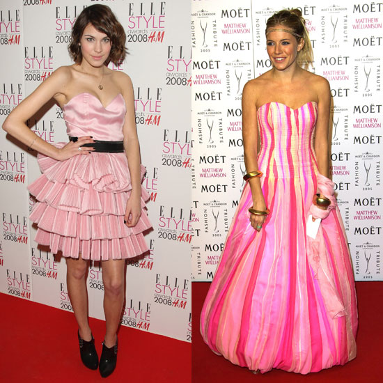 A pink red-carpet moment: Alexa goes '80s style, Sienna goes super funky and floor-length.