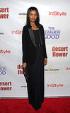 Liya Kebede caught our eye in a maxi-length skirt and blazer — we love this elegant pairing.