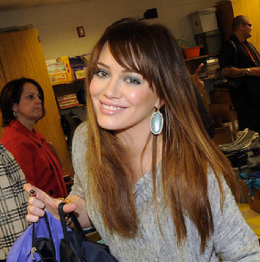 Pictures of Hilary Duff Passing Out Backpacks in Atlanta