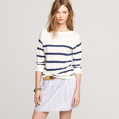 This J.Crew Linen Striped Boatneck Sweater ($88) is ideal for layering, and the cool fabric is perfect for those breezy Summer nights.