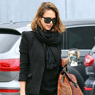 Pictures of Jessica Alba Wearing a Prada Bag and Colorful Flatform Shoes