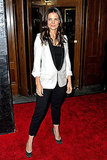 Katie Holmes stayed black and white and super chic in a tuxedo blazer.