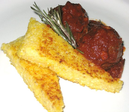 Lamb Meatballs with Pan Seared Polenta