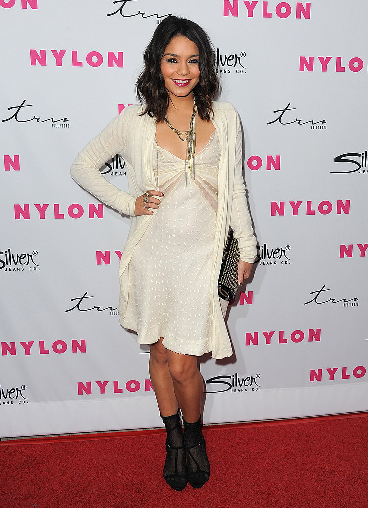 Vanessa Hudgens channeled a vintage vibe in her flirty slip dress and t-strap sandals and socks.