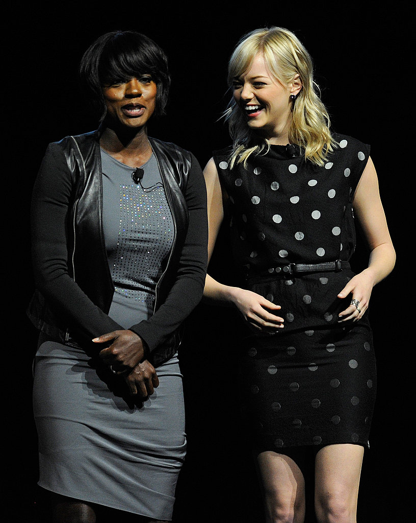 Emma Stone Gets a Little Help From Bryce, Viola, and Octavia at CinemaCon