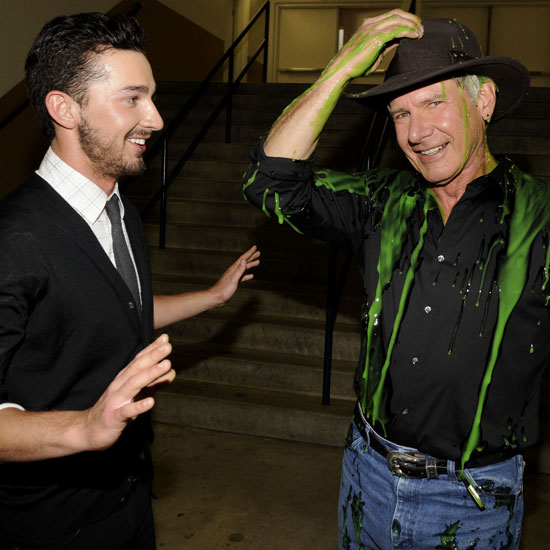Indiana Jones and the Crystal Skull costars Shia LaBeouf and Harrison Ford teamed up in 2008, though only one of them walked away covered in the famous green goo.