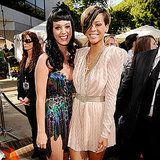 Gal pals Katy Perry and Rihanna teamed up on the red carpet before 2010's star-studded show.