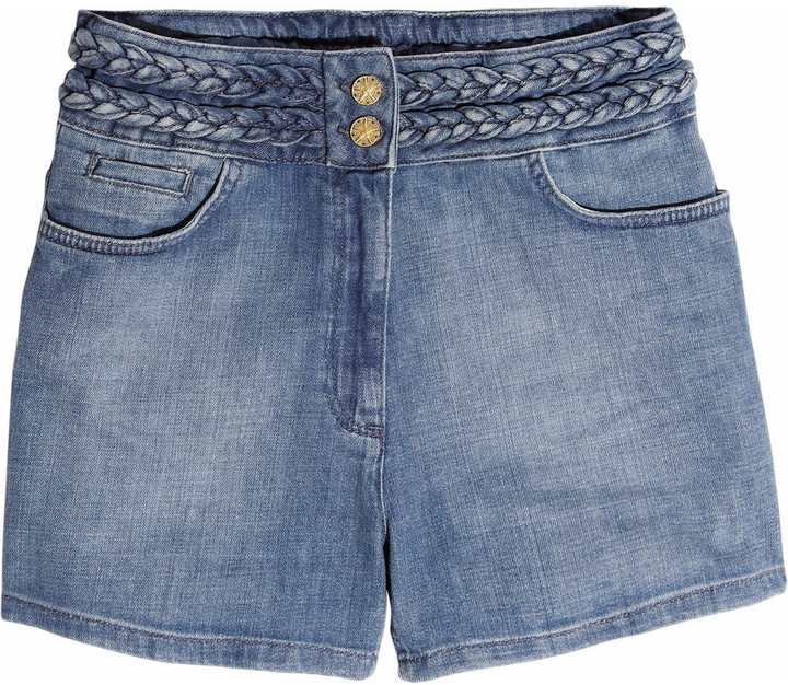 Sandro Poppins High-Waisted Stretch-Denim Shorts ($255)