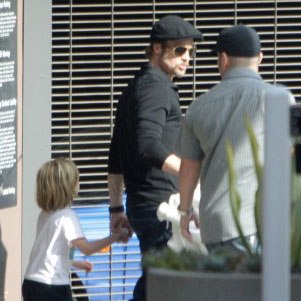 Pictures of Brad Pitt and His Children Leaving the Movie Theater in LA