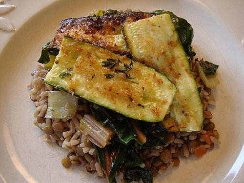 Breaded Zucchini and Rainbow Chard with Lentil Pilaf