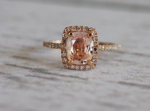 This one looks like it's been passed on from generation to generation.   Cushion Peach Champagne Sapphire Diamond Ring ($1,200)
