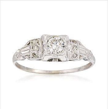 A sparkly 18-karat, white-gold vintage ring from Ross Simons ($746).
