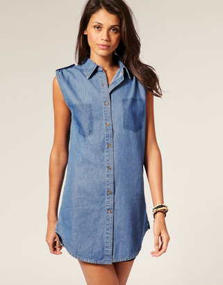 Motel Pocket Print Sleeveless Denim Maddison Shirt ($68)