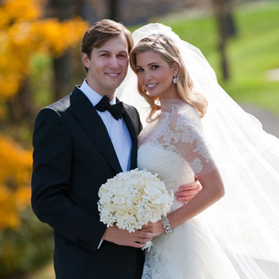 Ivanka Trump donned a dainty lace Vera Wang gown — we love the short sleeves — for her lavish October 2009 New Jersey wedding to Jared Kushner.