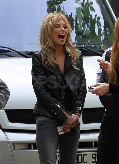 Kate Moss Cracks Up While Filming in France