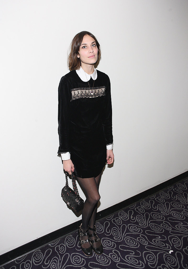 Alexa Chung channeled her signature style, complete with an adorable Peter Pan collar.