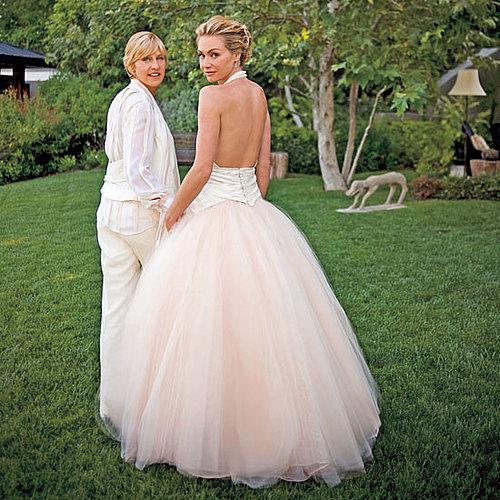 Ellen DeGeneres and Portia de Rossi had a special ceremony at their LA home in August 2008.