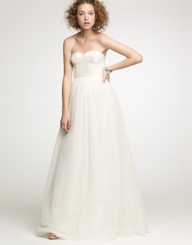 We love the sweetheart shape and layers of chiffon. Tulipe Bustier Gown ($1,800)