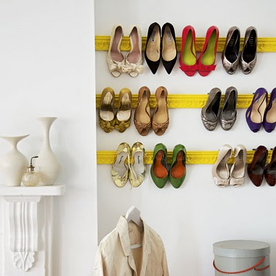 Install architectural plaster moldings as picture-perfect rails for your high heels. Paint the moldings to turn them into a focal point!