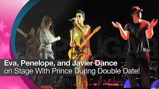 Video: Eva Longoria, Penelope Cruz, and Javier Bardem Dance on Stage With Prince During Double Date!