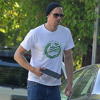 Pictures of Alexander Skarsgard Leaving the Chateau Marmont With His iPad in Hand