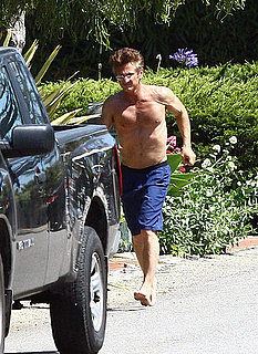 Sean Penn Paddle Boarding Shirtless in Malibu
