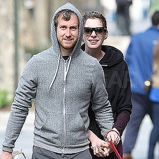 Pictures of Anne Hathaway and Her Boyfriend, Adam Shulman, Walking Their Dog in NYC