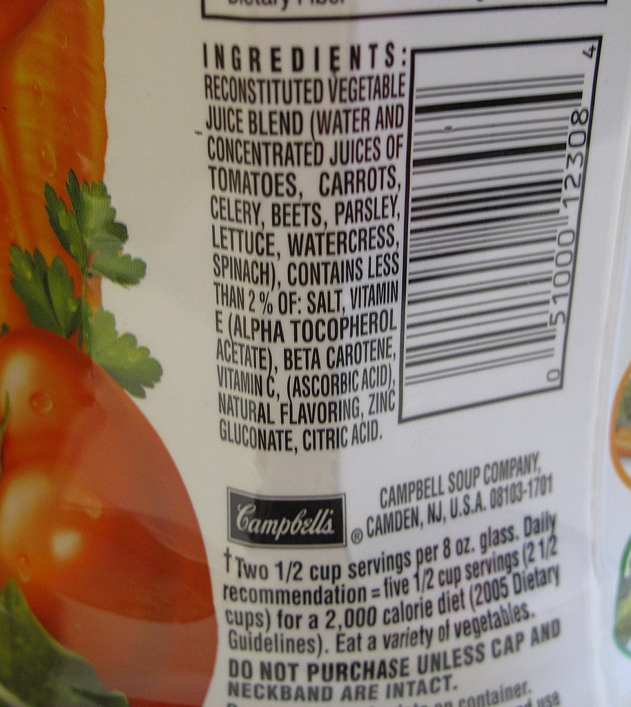 Ingredients in V8's Original Vegetable Juice.