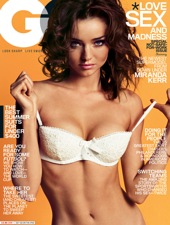 Miranda Kerr wore a white top for a May 2010 spread in GQ.