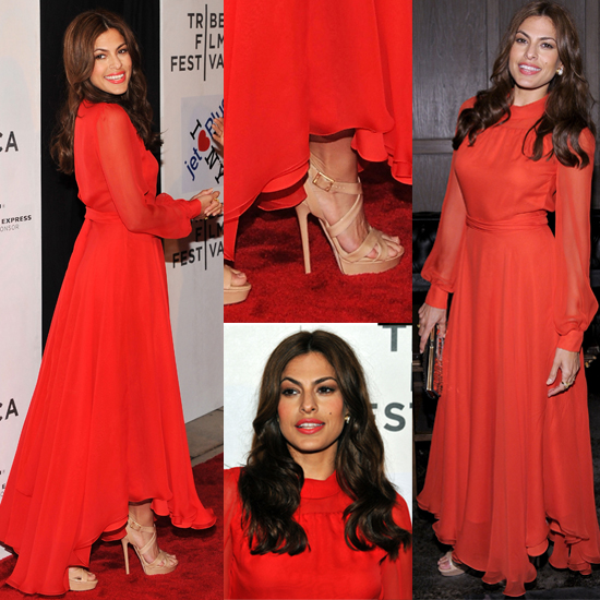Eva Mendes's Red Gucci Dress From All Angles