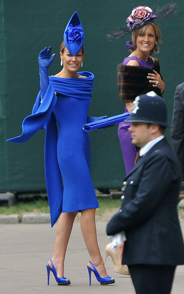 Tara Palmer-Tomlinson in Deborah Milner dress and Philip Treacy hat