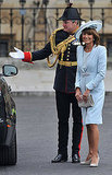Carole Middleton in Catherine Walker dress and coatdress (a favorite designer of Princess Diana's) with Jane Corbett hat