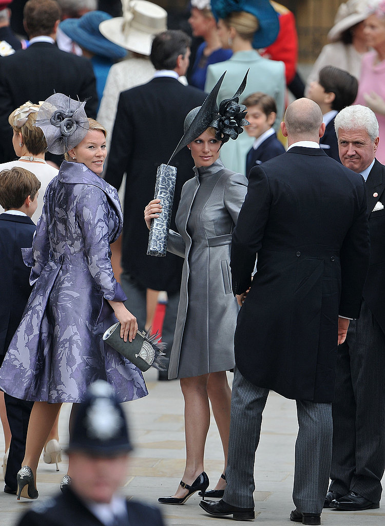 Zara Phillips, center, in a Philip Treacy hat