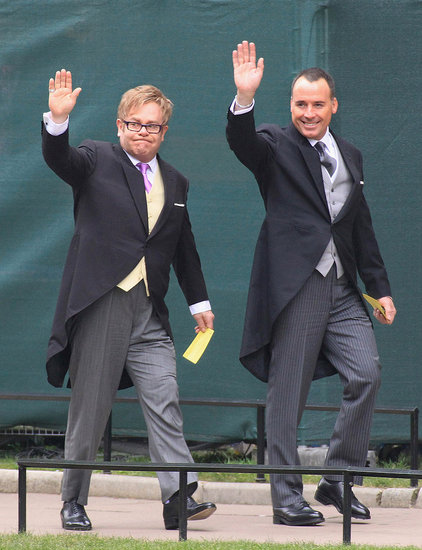 Elton John and David Furnish Make Their Way Into Westminster Abbey