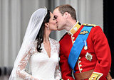 The royal couple goes in for the smooch.