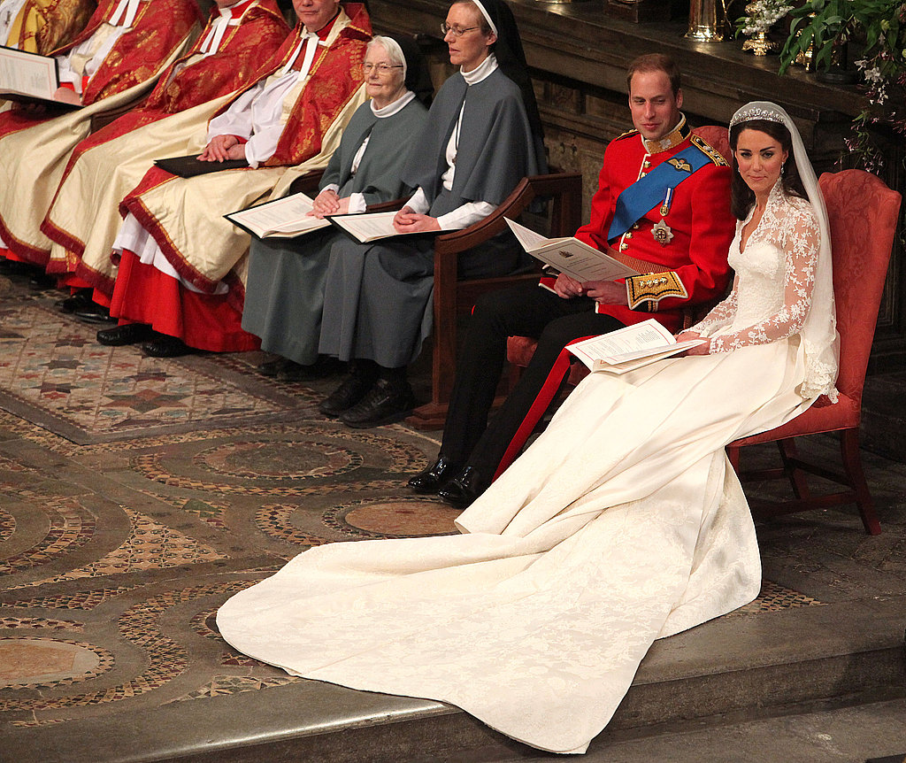 William and Kate sat after the ceremony.