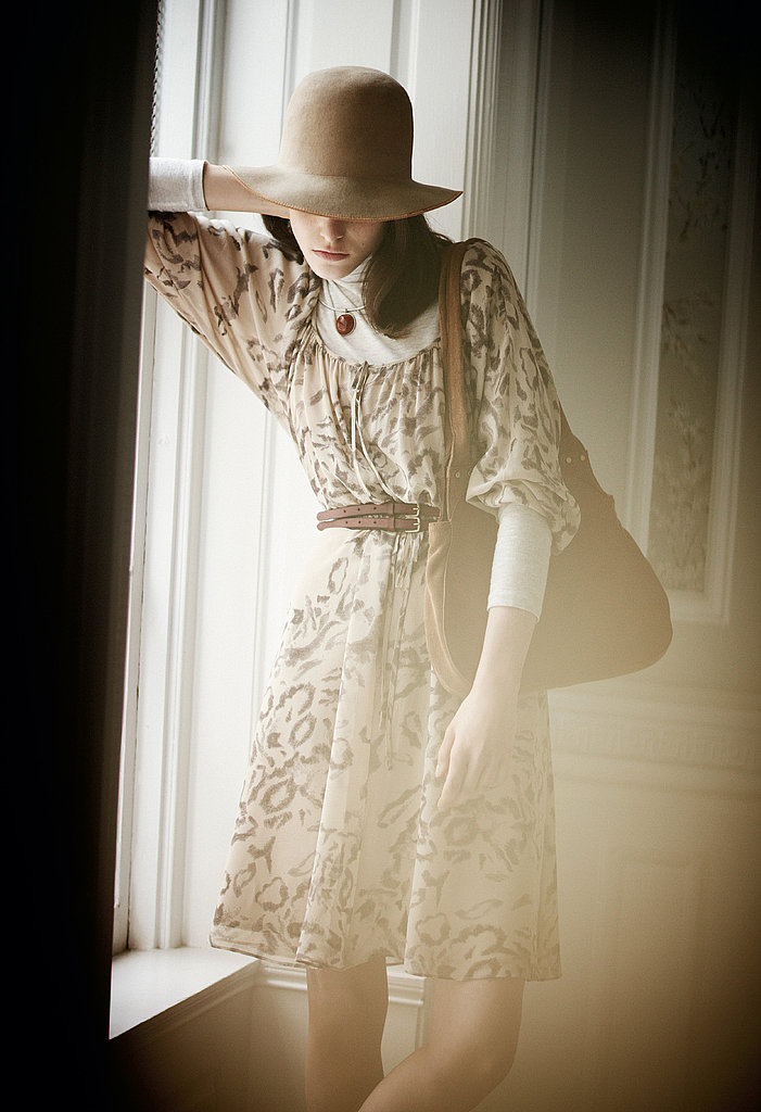 Ella Dress, Julie Turtleneck, Vintage Hat, Round Stone Collar Necklace, Marykate Belt, Francoise Bag