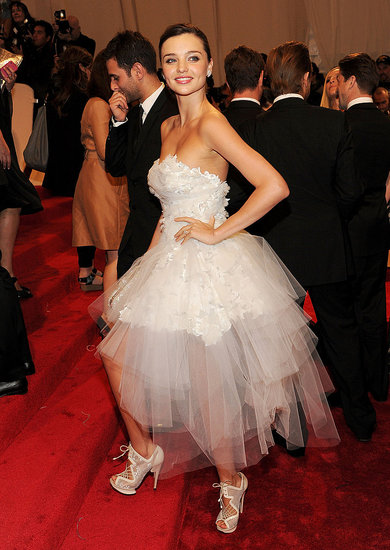 Miranda Kerr in Marchesa and Nicholas Kirkwood shoes