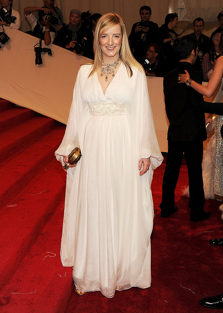 Sarah Burton, the new designer at Alexander McQueen, opted for a white ethereal gown.