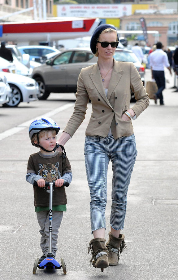 Eva Herzigova with eldest son George.