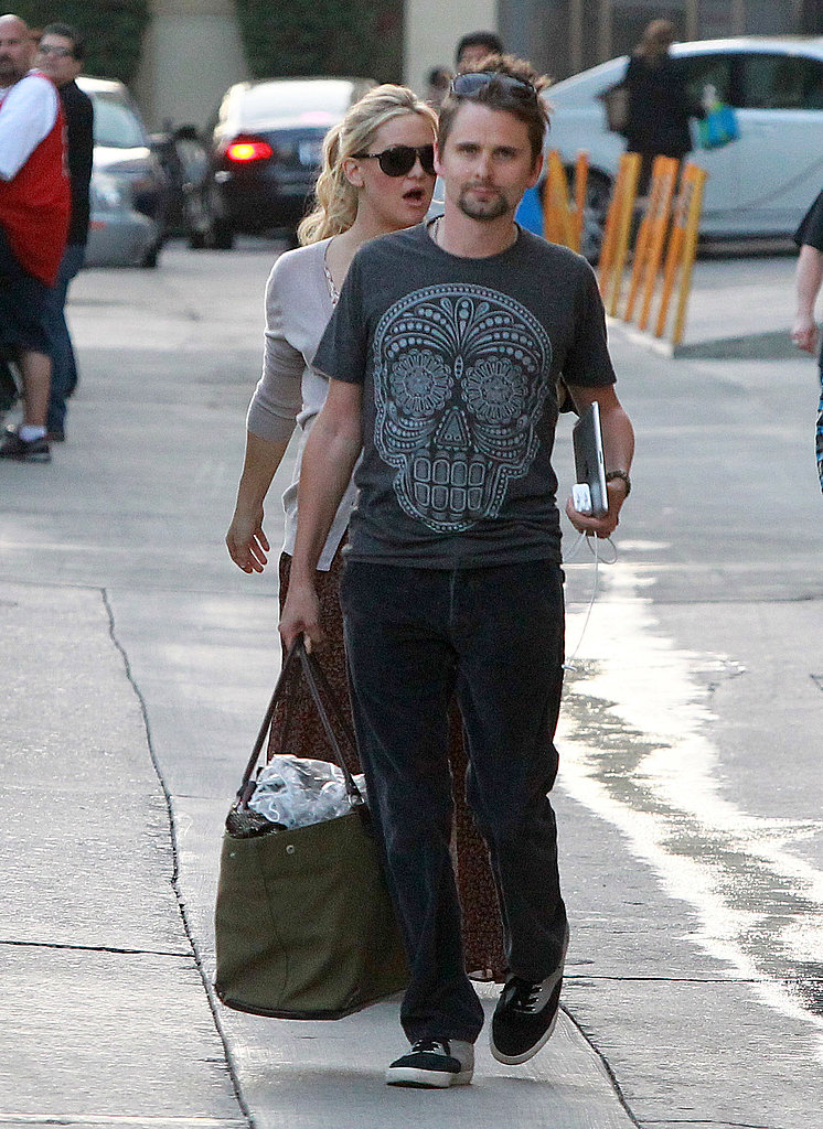 Matthew Bellamy Helps His Fiancée, Kate Hudson, Wrap Up Her Interview Rounds